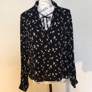 H&M Divided black collared shirt w/birds Sz 12